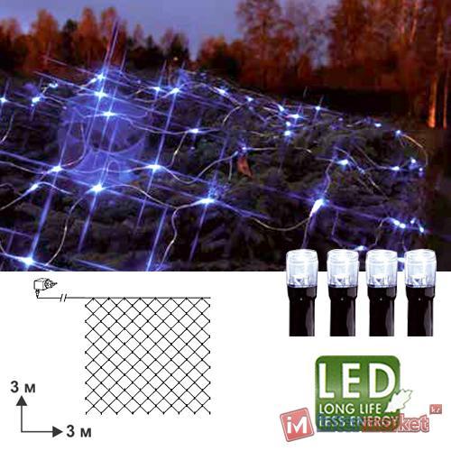 Гирлянда сетка 3х3м холоднобелая кабель черный 10м 180диодов LED outdoor